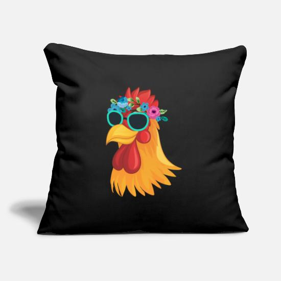 Love Pillow Cases - Cool chicken sunglasses farmer animal - Pillowcase 17,3'' x 17,3'' (45 x 45 cm) black