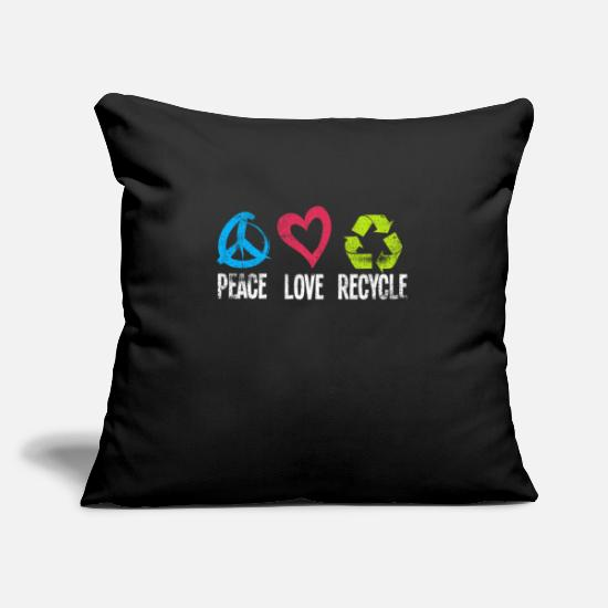 Peace Copricuscini - Peace Love Recycle Earth Environment Green Nature - Copricuscino nero