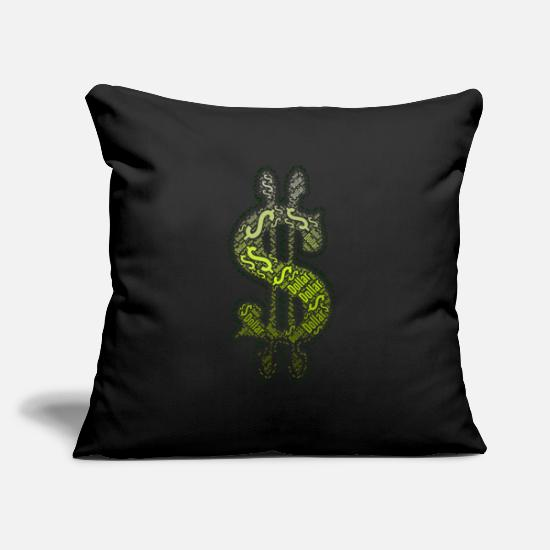 Gift Idea Pillow Cases - Dollar sign Dollar - Pillowcase 17,3'' x 17,3'' (45 x 45 cm) black