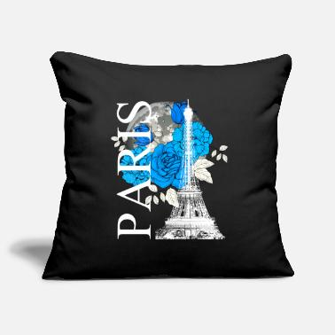 Metropolis Paris Eiffel Tower full moon flowers travel - Pillowcase 17,3'' x 17,3'' (45 x 45 cm)