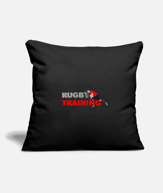 Rugby Pillow Cases - RUGBY TRAINING red and black - Pillowcase 17,3'' x 17,3'' (45 x 45 cm) black