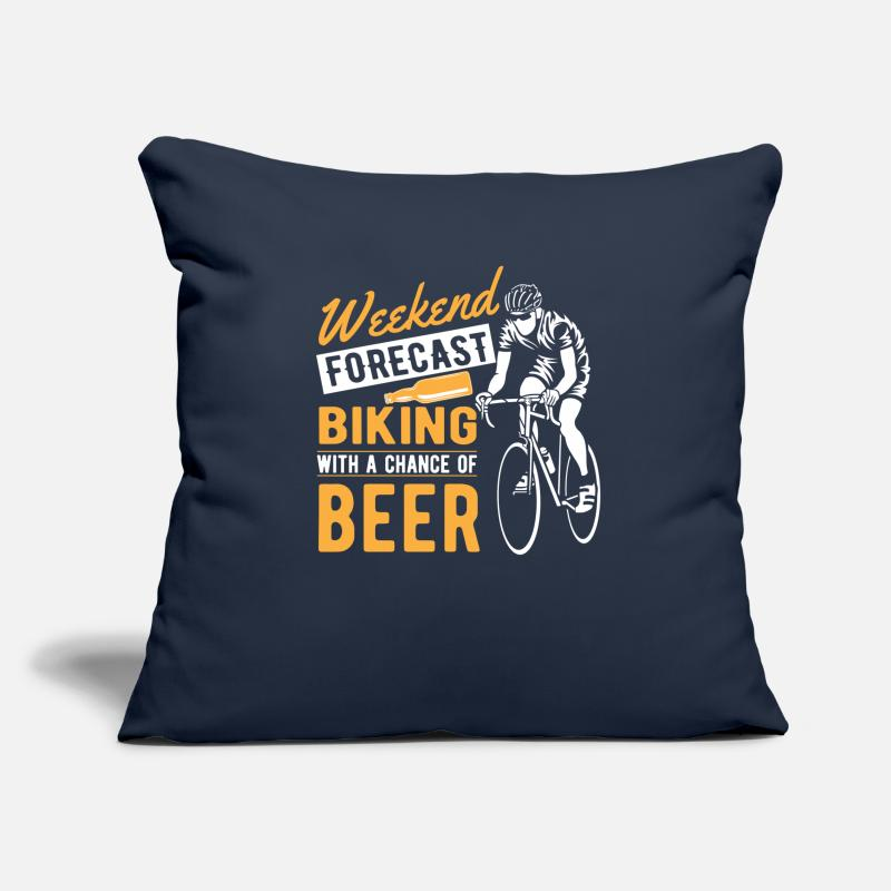Cycling Pillow cases - Weekend forecast biking with a chance of beer - Cushion Cover navy