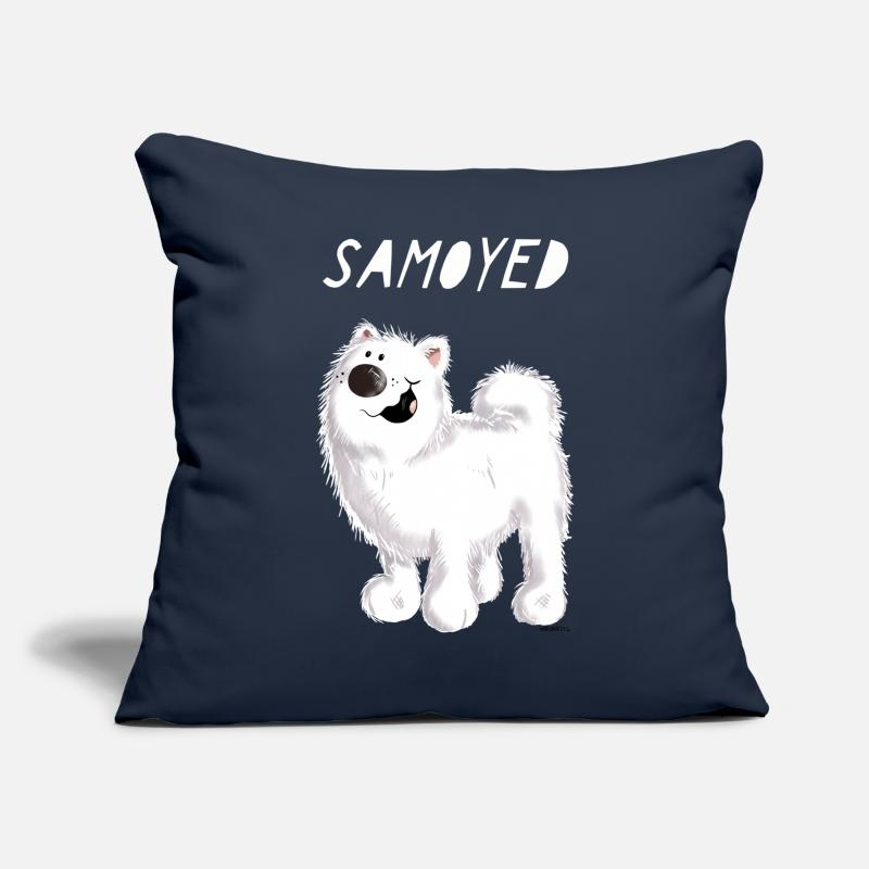 Animal Pillow cases - Happy Samoyed - Dog - Dogs - Comic - Cartoon - Pillow Case navy