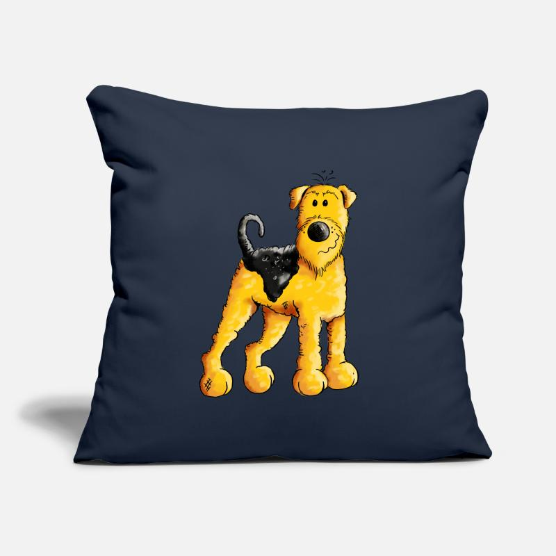 Airedale Pillow cases - Happy Airedale Terrier - Dog - Cartoon - Gift - Cushion Cover navy