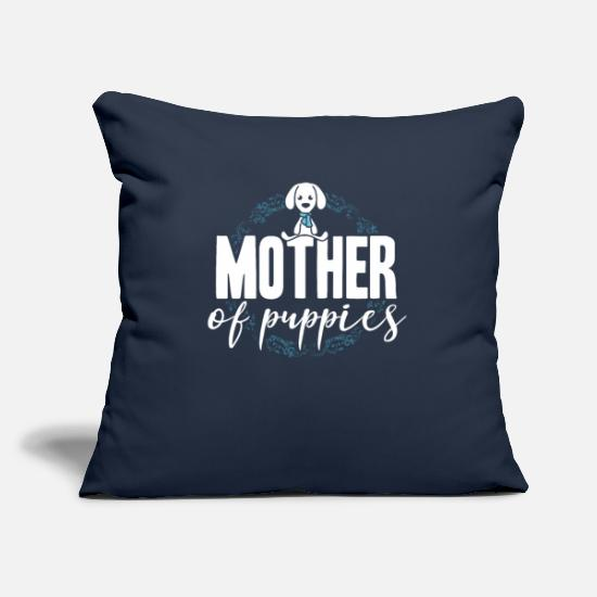 Gift Idea Pillow Cases - Mother of puppies dog puppy - Pillowcase 17,3'' x 17,3'' (45 x 45 cm) navy