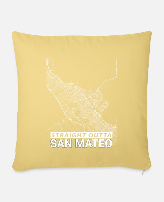 Mateo Pillow Cases - Straight Outta San Mateo city map and streets - Pillowcase 17,3'' x 17,3'' (45 x 45 cm) washed yellow