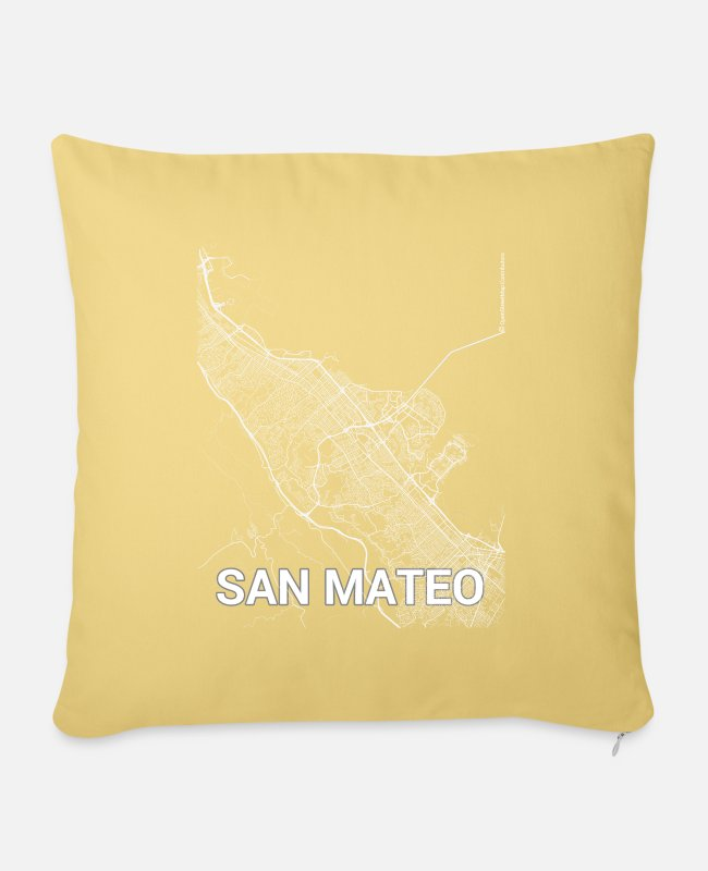 Mateo Pillow Cases - San Mateo city map and streets - Pillowcase 17,3'' x 17,3'' (45 x 45 cm) washed yellow