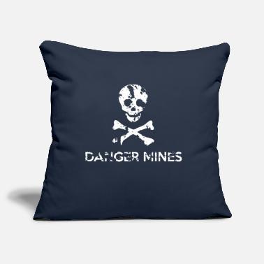Grungy Grungy Warning Sign – Danger Mines - Pillowcase 17,3'' x 17,3'' (45 x 45 cm)
