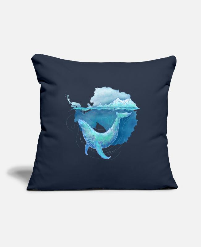 Nature Pillow Cases - Whale Sanctuary - Pillowcase 17,3'' x 17,3'' (45 x 45 cm) navy