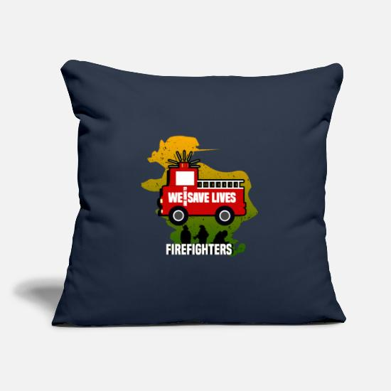 Fire Pillow Cases - WE ARE GOING TO SAVE LIVES - FIREFIGHTERS - Pillowcase 17,3'' x 17,3'' (45 x 45 cm) navy