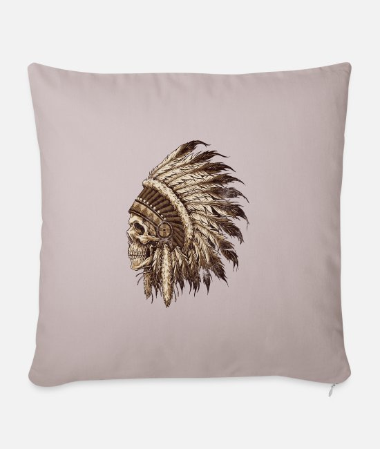 Native Pillow Cases - Indian spirit - Pillowcase 17,3'' x 17,3'' (45 x 45 cm) light taupe