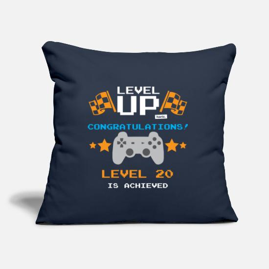 Birthday Pillow Cases - Level Up Congratulations Level 20 Achieved 20 Gebu - Pillowcase 17,3'' x 17,3'' (45 x 45 cm) navy