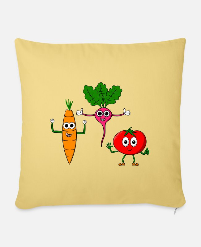 Cartoon Character Pillow Cases - Vegetable gear - three cool vegetables - Pillowcase 17,3'' x 17,3'' (45 x 45 cm) washed yellow