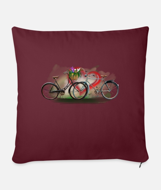 Love Pillow Cases - Bicycles love - Pillowcase 17,3'' x 17,3'' (45 x 45 cm) burgundy