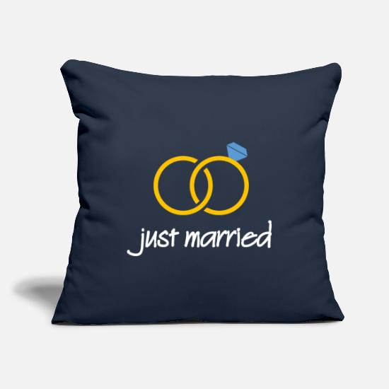 Flitterwochen Kissenbezüge - just married (gold) - Kissenhülle Navy
