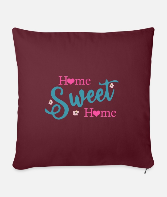 At Home Pillow Cases - Home Sweet Home - Pillowcase 17,3'' x 17,3'' (45 x 45 cm) burgundy