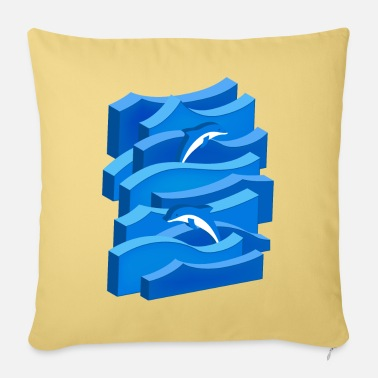 Waves & Dolphins (3D) - Pillowcase 17,3'' x 17,3'' (45 x 45 cm)