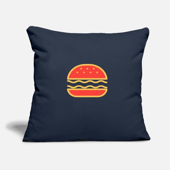 Bbq Pillow Cases - Burger fast food food - Pillowcase 17,3'' x 17,3'' (45 x 45 cm) navy