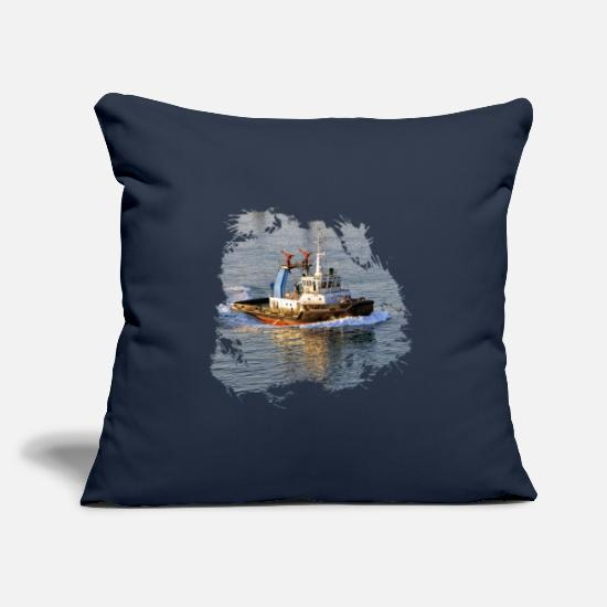 Container Pillow Cases - Harbor tug with fire cannons - Pillowcase 17,3'' x 17,3'' (45 x 45 cm) navy