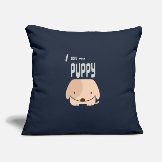 Love Pillow Cases - I love my puppy - Pillowcase 17,3'' x 17,3'' (45 x 45 cm) navy