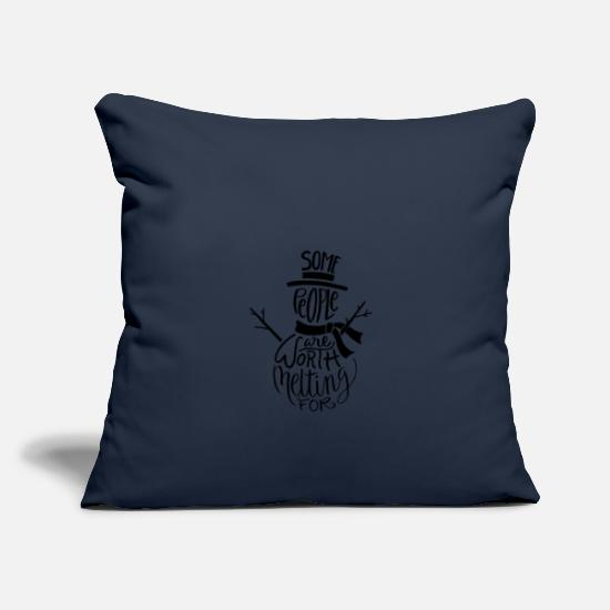 Snowman Pillow Cases - Winter christmas snowman cold frost snow - Pillowcase 17,3'' x 17,3'' (45 x 45 cm) navy