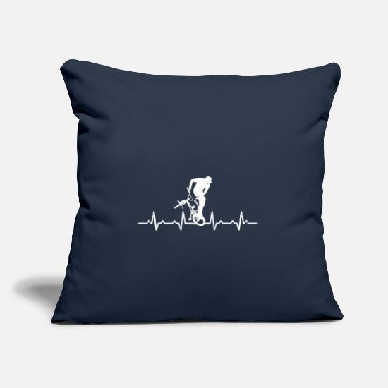 Love Pillow Cases - BMX Heartbeat - Bicycle Gift Hobby - Pillowcase 17,3'' x 17,3'' (45 x 45 cm) navy