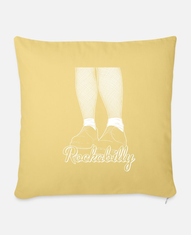 Jamaica Dancehall Pillow Cases - Rockabilly design - Psychobilly Greaser graphics - Pillowcase 17,3'' x 17,3'' (45 x 45 cm) washed yellow