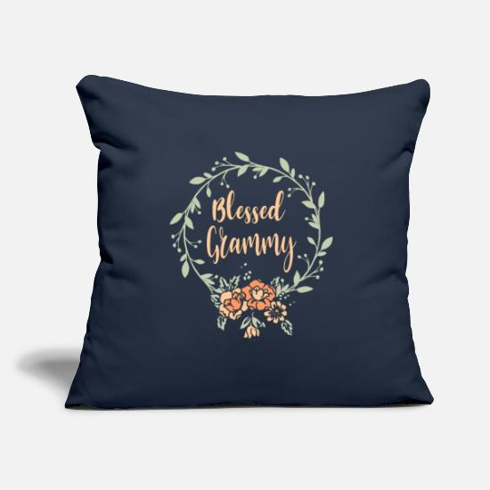 Grand Parents Pillow Cases - Blessed Grammy T-Shirt Grandma With Floral Mother - Pillowcase 17,3'' x 17,3'' (45 x 45 cm) navy