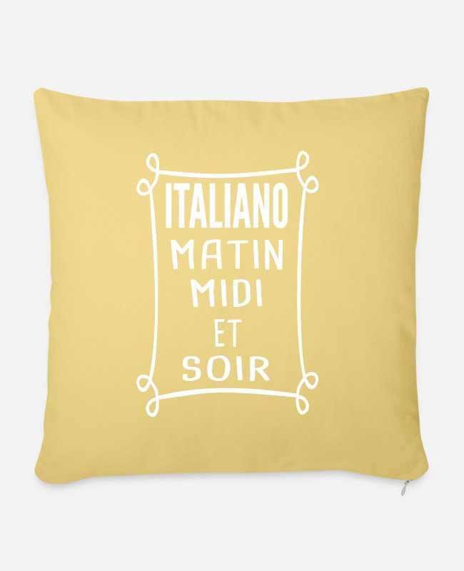 Sicily Pillow Cases - Italiano - Forza Azzurri - Pillowcase 17,3'' x 17,3'' (45 x 45 cm) washed yellow