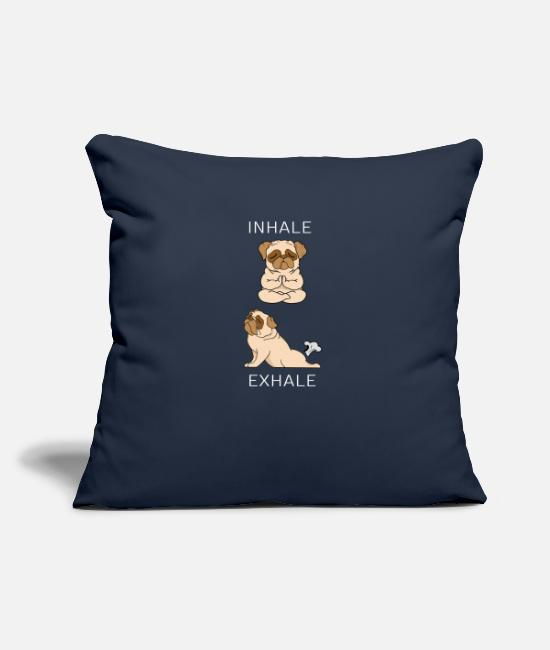 Dog Mother Pillow Cases - French Bulldog INHALE EXHALE Yoga - Pillowcase 17,3'' x 17,3'' (45 x 45 cm) navy