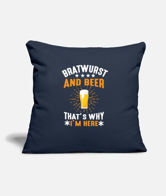 Sausage Pillow Cases - BRATWURST AND BEER 01 - Pillowcase 17,3'' x 17,3'' (45 x 45 cm) navy