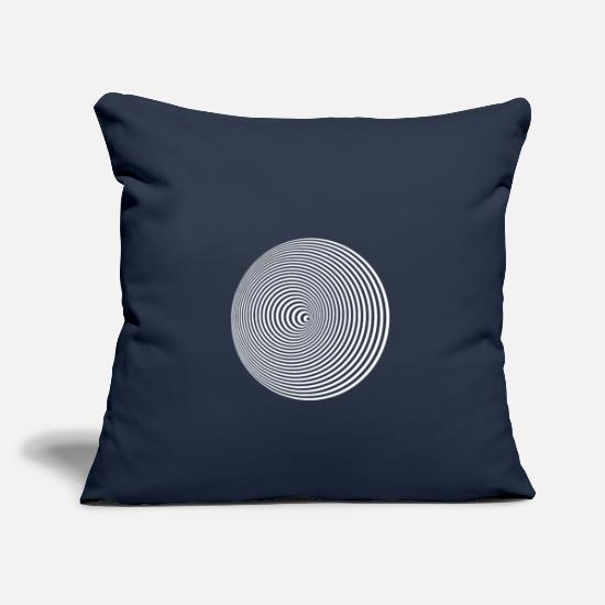Trip Pillow Cases - Optical illusion circles around illusion hallucinat - Pillowcase 17,3'' x 17,3'' (45 x 45 cm) navy