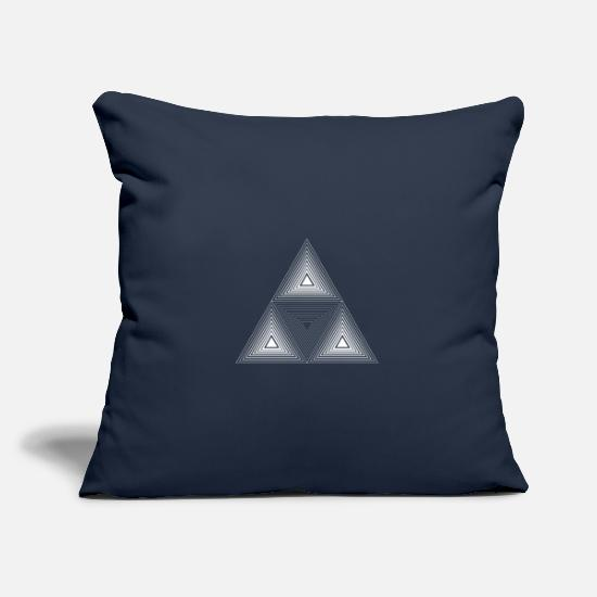 Optical Illusion Pillow Cases - Triangle pattern illusion paradox shape gift - Pillowcase 17,3'' x 17,3'' (45 x 45 cm) navy