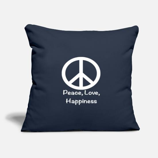 Love Pillow Cases - Frieden Liebe Glück Sommer Party Festival Open Air - Pillowcase 17,3'' x 17,3'' (45 x 45 cm) navy