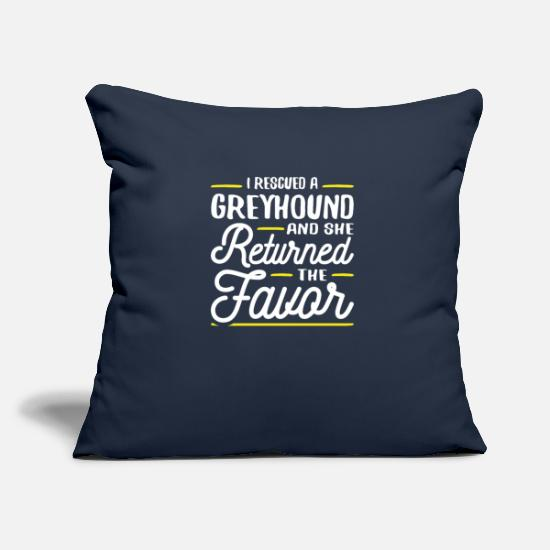Greyhound Pillow Cases - Rescued a Greyhound - Pillowcase 17,3'' x 17,3'' (45 x 45 cm) navy