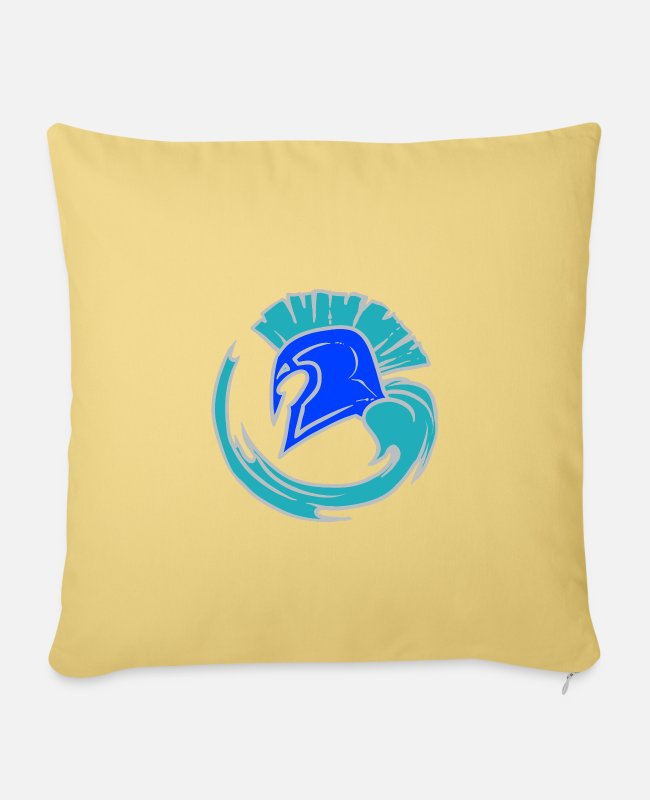 Blue White Pillow Cases - Cool Blue Spartahelm - Leibl Designs - Pillowcase 17,3'' x 17,3'' (45 x 45 cm) washed yellow