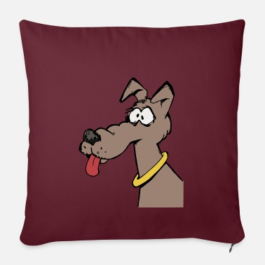 Dog face with tongue and collar - Pillowcase 17,3'' x 17,3'' (45 x 45 cm)