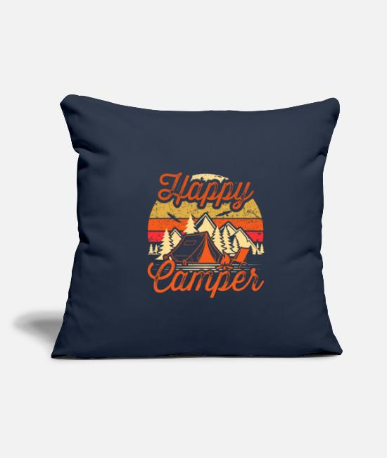 Tent Pillow Cases - CAMPING CAMPER TENTS MOUNTAINS - Pillowcase 17,3'' x 17,3'' (45 x 45 cm) navy
