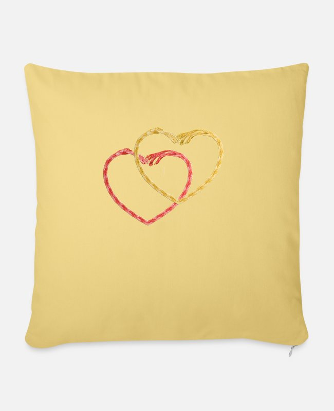 Heart Pillow Cases - heart - Pillowcase 17,3'' x 17,3'' (45 x 45 cm) washed yellow
