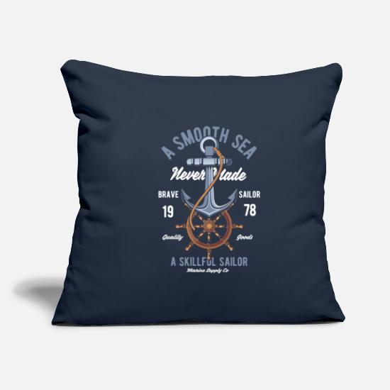 Fisherman Pillow Cases - Anchor sailing oars - Pillowcase 17,3'' x 17,3'' (45 x 45 cm) navy