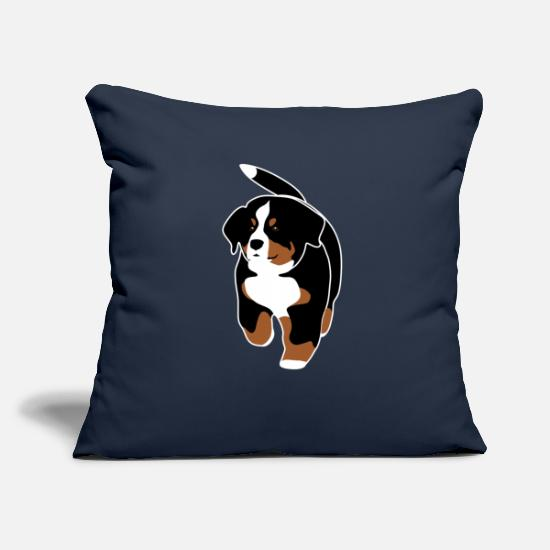 Mountain Pillow Cases - Bernese Mountain Dog puppy - Pillowcase 17,3'' x 17,3'' (45 x 45 cm) navy