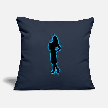 Background Girl Light Blue and Black Outline - Pillowcase 17,3'' x 17,3'' (45 x 45 cm)