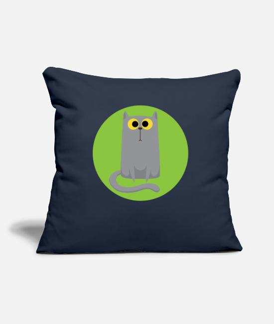 Pillow Cases - Cat T-Shirt Unhappy Cartoon - Pillowcase 17,3'' x 17,3'' (45 x 45 cm) navy