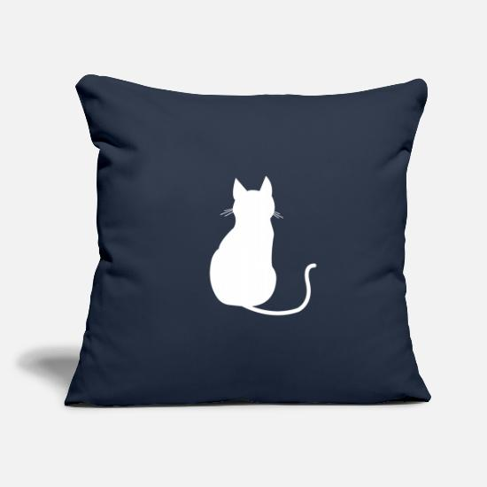 Birthday Pillow Cases - Cat silhouette outline cat love - Pillowcase 17,3'' x 17,3'' (45 x 45 cm) navy