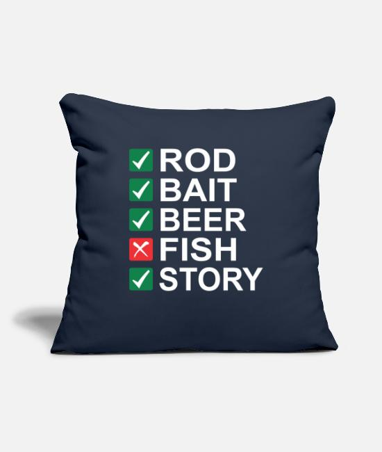 Camper Pillow Cases - Rod Bait Beer Fish Story - Pillowcase 17,3'' x 17,3'' (45 x 45 cm) navy