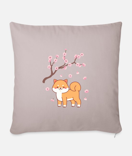 Art Pillow Cases - Sakura dog japan anime gift - Pillowcase 17,3'' x 17,3'' (45 x 45 cm) light taupe