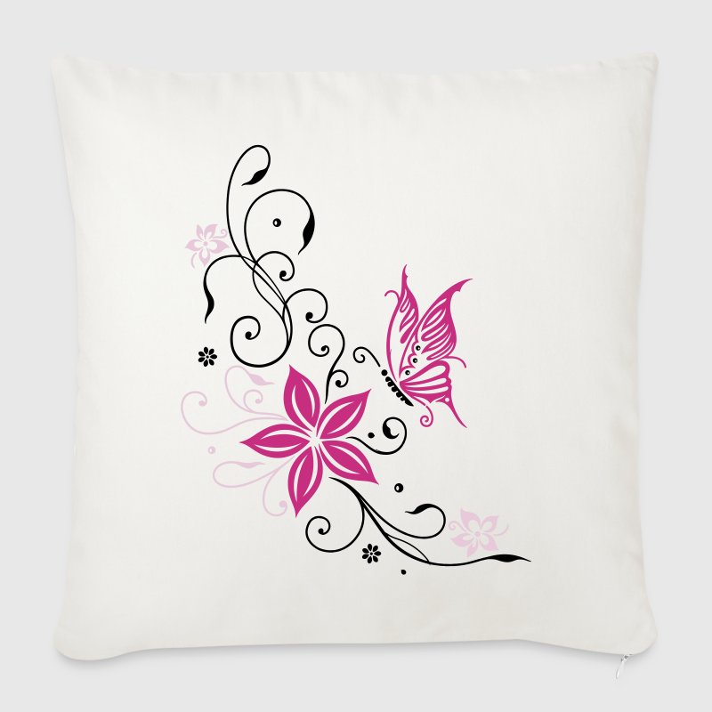 Flowers with filigree floral ornament. Feminine. - Sofa pillow cover 44 x 44 cm