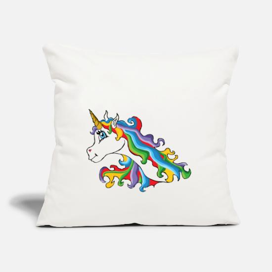 Unicorn Pillow Cases - Colorful unicorn with rainbow colored mane - Pillowcase 17,3'' x 17,3'' (45 x 45 cm) natural white