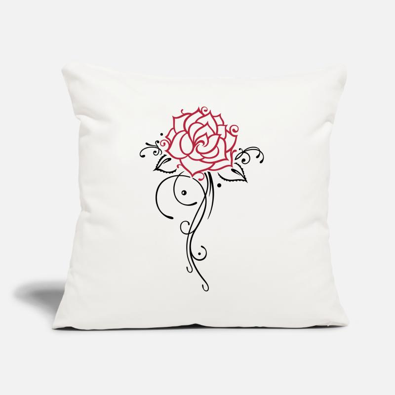 Rose Pillow cases - Colorful rose with filigree ornament and leaves. - Pillow Case natural white