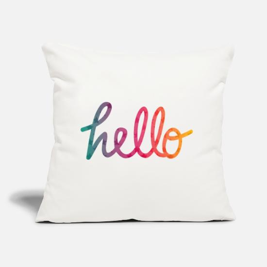 Bestseller Pillow Cases - Hello Typography rainbow - Pillowcase 17,3'' x 17,3'' (45 x 45 cm) natural white